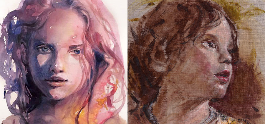 acrylic-watercolor-portraits